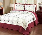 3Pc Bedspread Quilted High Quality Bed Cover Embroidery  image