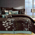 Bliss Garden Brown Comforter Bed In A Bag Set with Sheet Set 12 Piece