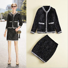 Autumn Occident fashion round neck long sleeve Classy coat+hip skirt suit SMLXL