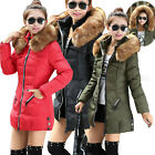 Women Winter Hoody Quilted Coat Warm Parka Slim Jacket Fur Collar long Outerwear