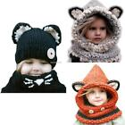 Kid Toddler Cute Animal Pattern Knit Cap with Neckerchief 2 Pieces Set B20E