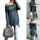 New Women's Fold Off Shoulder Oversize Blouse Casual Long Sleeve Sexy Tops Tunic
