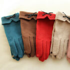 Fashion Woman Bow Tie Cashmere Wool Thick Gloves Warm Soft Touch Screen Mittens
