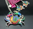 702    Betsey Johnson Colorful enamel Pretty Crab Necklace earring set