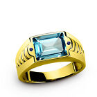 Solid 10K Fine Yellow Gold Mens Ring with Topaz and Sapphire Accents Gemstone