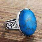 Fine Silver Mens Ring NATURAL TURQUOISE STONE Handmade Vintage Art Deco Style