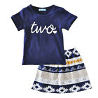 Infant Kid Baby Girls T-shirt Tops + Boho Skirts Dress Outfits Clothes 2PCS Sets