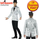 CA502 Mens Silver Sequins Jacket Stag Night Circus Ringmaster Mardi Gras Costume