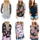 Women Causal Floral Slim T-shirt Long-sleeved Blouse Top Plus Size