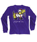 Puppie Love Youth Gridiron Orange Purple Pup Help Rescue Dogs Long Sleeve Tee