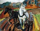 Horse Team by Edvard Munch. Giclee Fine Art Reproduction Prints Canvas or Paper