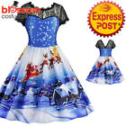 K472 Blue Santa Christmas Vintage Swing Flare Dress Up Snowflake Xmas Rockabilly