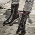 Punk Fashion Men's Cowboy Military Army Faux Leather Boots High Top Biker Shoes