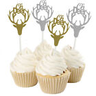 10pcs Glitter Deer Head Cupcake Topper Christmas Winters Par