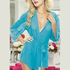 Women's Sexy Black Blue Lingerie Nightwear Pajamas Chemise Lace-up Robe S M L