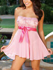 Pink Black Lingerie Babydoll Dress Chemise Nightie Plus Size 8 10 12 14 16 18 20