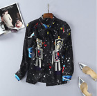 New Occident hot sale fashion leisure robot printed long sleeve hot shirt/blouse