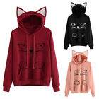 UK Women Sweater Lovely Cat Print Ear Pullover Hoodie Fashion Tops Shirt TY