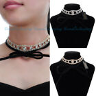 Elegant Jewelry Crystal Glass Leather Rope Chain Black Choker Necklace Jewelry