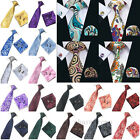 Floral Pattern Silk Tie Set Necktie Cufflinks and Handkerchief Set Wedding Men