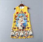 Occident hot sale high-end set auger nail bead fashion printed vest Party dress
