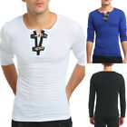 Mens Long Sleeve T-shirt Crew Neck Button Decorated Casual Streetwear Fitted Tee