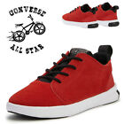 Converse Kids Leather Children School Sports Casual Red Lace Up Trainers Shoes