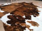 Cowhide Rug Tricolor Cow Hide Brazilian Area Rugs Hair on Hide Size XXL