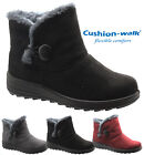 LADIES CUSHION WALK WINTER CASUAL FAUX SUEDE FAUX FUR LINED COMFORT ANKLE BOOTS
