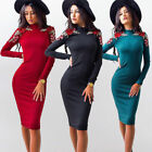 New Womens Embroidered Flower Long Sleeve Bodycon Dress Party Knee-Length Dress