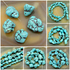 Blue Turquoise Gemstone Freeformed Nugget Loose Beads 16''  Pick Size