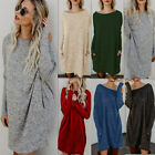 Womens Loose Sweater Long Sleeve Casual Mini Dress Knitted Winter Pocket Jumper