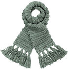 Barts Scarf Neck Warmer Knit Scarf Green Tara Chunky Knitted Warm Fringes