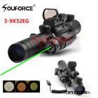 Hunt 3-9X32EG Rifle Scope/1x22x33 Holographic Sight/Red/green Laser sight/Mount