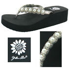 Yellow Box Edwina Women's Rhinestone Pearl Wedge EVA Sandals Flip Flop
