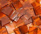 Medium Amber Rough Rolled Hand Cut Stained Glass Mosaic Tiles #529