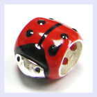 Sterling Silver Enamel Red Ladybug Round Tube Bead for European Charm Bracelet