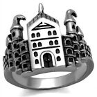 Men's New Stainless Steel Textured Medieval Castle Ring Sizes 8 - 13
