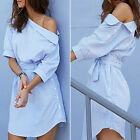 Womens Blouse Tops Long Sleeve T Shirt Casual Loose Party Mini Dress Plus Size