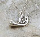 Sterling Silver French Horn Pendant on a 3mm Rolo Chain Necklace -0096