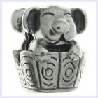 Sterling Silver Cute House Dog in Basket Puppy Bead for European Charm Bracelet
