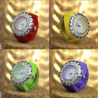 Women Fashion Candy Color Crystal Numeral Handy Stainless Steel Quatz Ring Watch