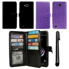 For LG X Venture X Calibur V9 Flip Wallet Cover Case With Wrist Strap + Pen