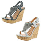 Not Rated Tourmaline Women's Faux Leather Embellished Wedge Sandal