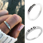 M-T 1/2 Mom Dad Rings Finger Rings Engraved Fashion Jewelry Silver Ring Jewelry