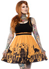 Sourpuss Haunted House Black Orange Punk Halloween Adult Women Dress SPDR373