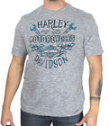 Harley-Davidson Mens Vital Freedom B&S Flames Grey Slub Short Sleeve T-Shirt $9.99 USD