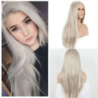 Women Silver Grey Natural Straight Heat Resistant Hair Synthetic Lace Front Wigs