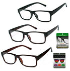 Multi Focus + Reading Glasses 3 Strengths in 1 Reader Square Frame Spring Temple