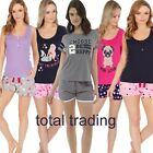 womens ladies pyjamas pajamas shorts sets t shirt top & hot pants bottoms